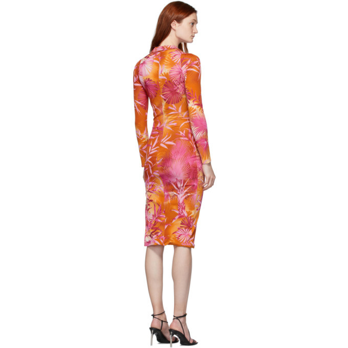 Versace Pink Jungle Print Midi Dress