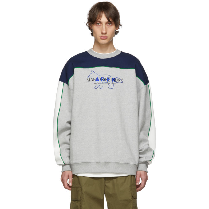 Photo: Maison Kitsune Grey Ader Error Edition Layout Sweatshirt