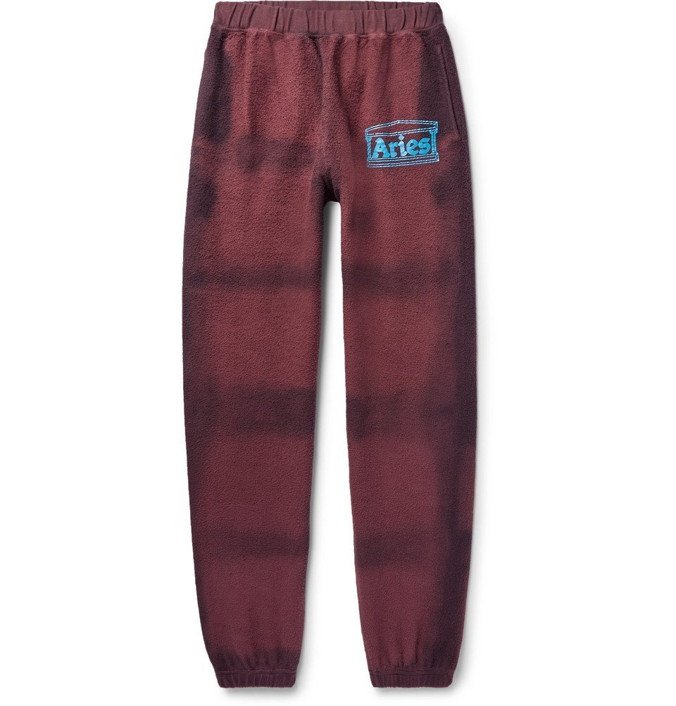Photo: Aries - Logo-Print Tie-Dyed Cotton-Terry Sweatpants - Burgundy
