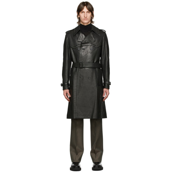 Photo: Givenchy Black Leather Belted Trench Coat