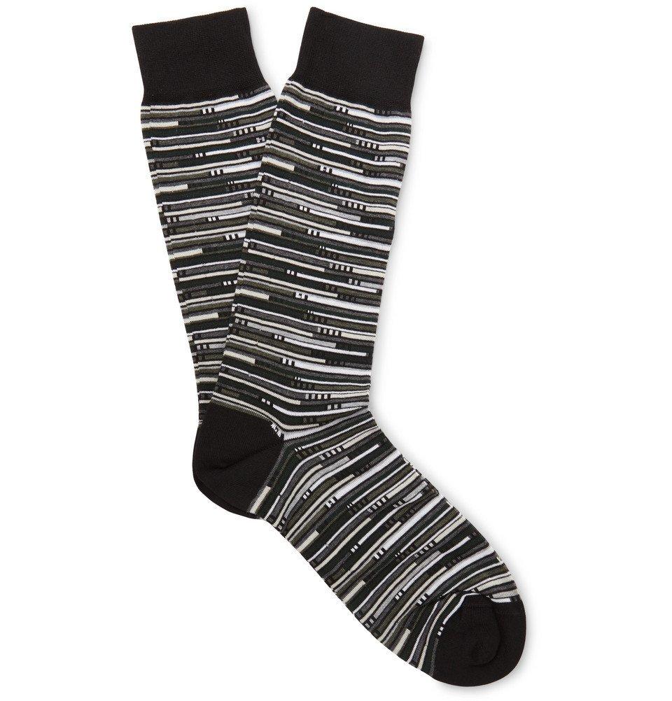 Photo: Ermenegildo Zegna - Striped Stretch Cotton-Blend Socks - Black