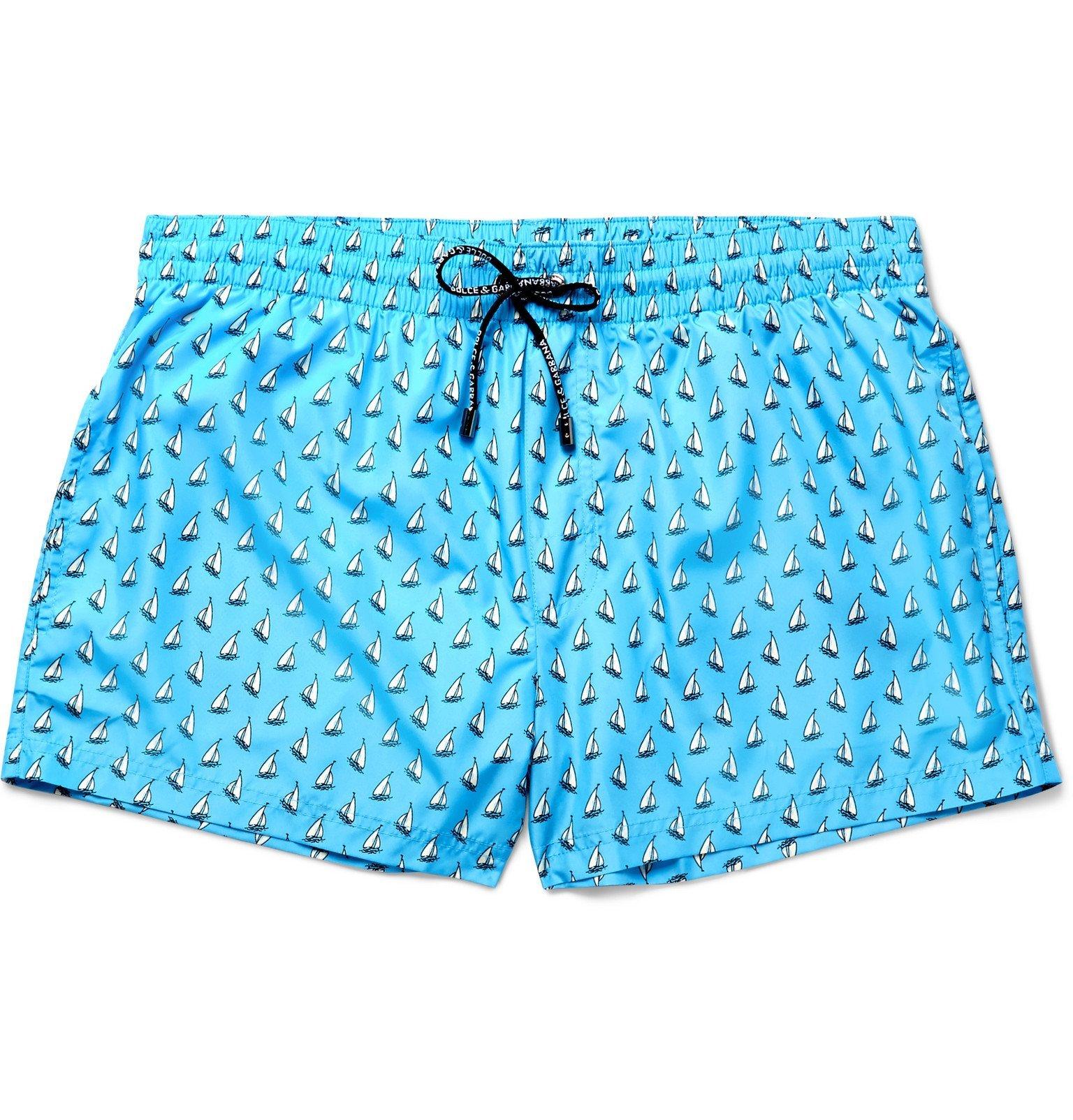 Photo: Dolce & Gabbana - Printed Short-Length Swim Shorts - Blue