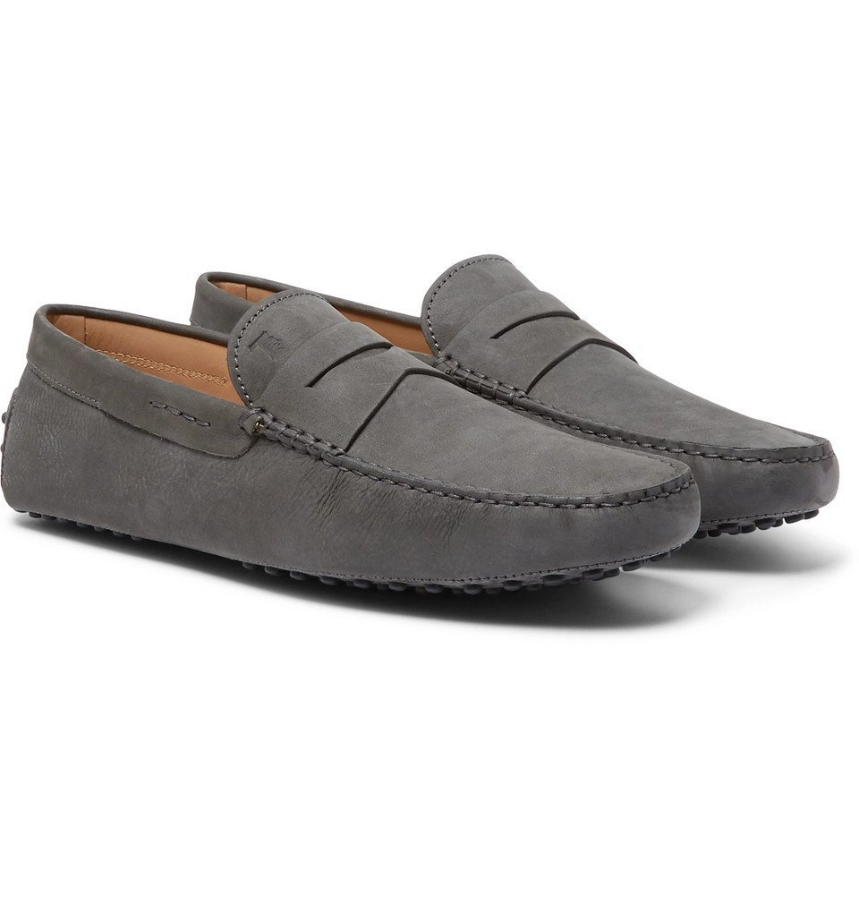 Tod's - Gommino Suede Driving Shoes - Men - Gray
