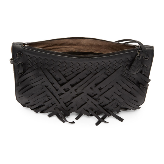 Bottega Veneta Black Palio Fringes Double Strap Bag