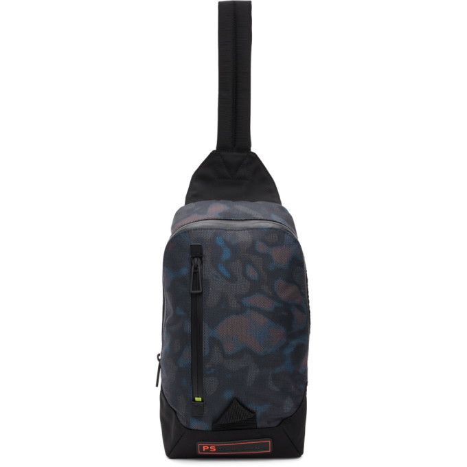 Photo: PS by Paul Smith Black Heat Map Camo Sling Backpack