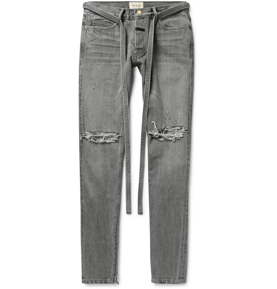 Photo: Fear of God - Slim-Fit Tapered Belted Distressed Selvedge Denim Jeans - Gray