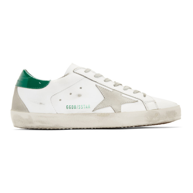 Golden Goose White and Green Superstar