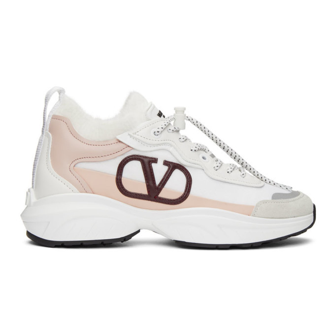 Photo: Valentino White and Pink Valentino Garavani Fuzzy VLogo Sneakers