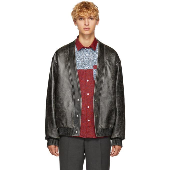 Photo: Kenzo Black Leather Cardigan Jacket