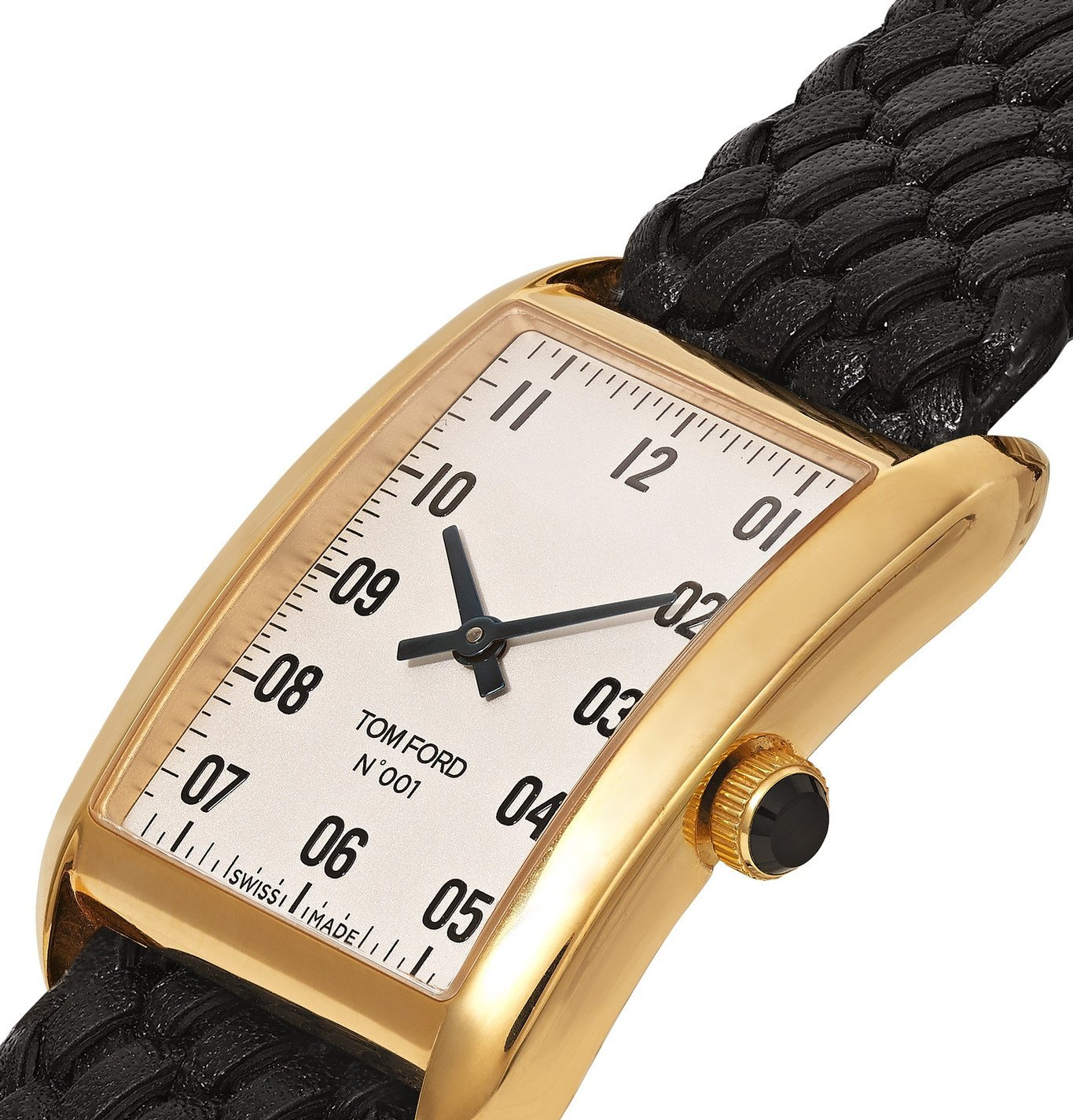 Tom Ford Timepieces - 001 18-Karat Gold and Woven Leather Watch - White