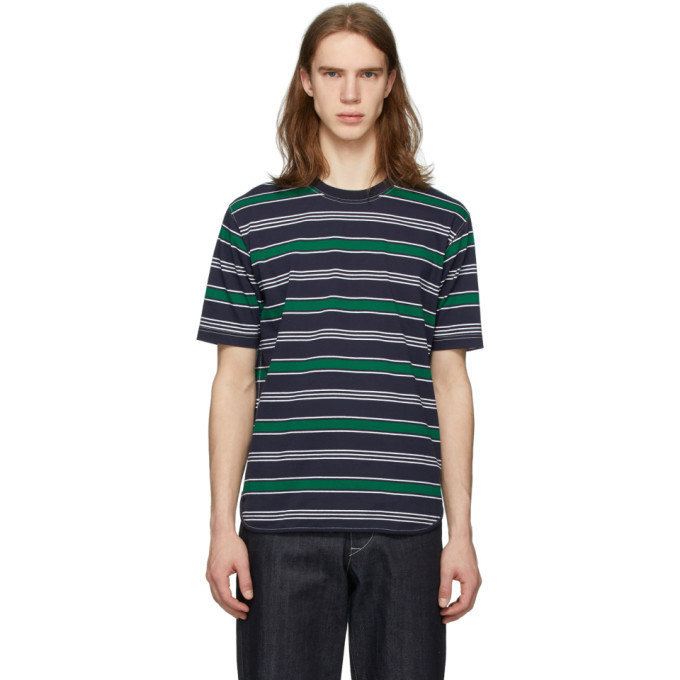 Photo: Junya Watanabe Green and Navy Striped T-Shirt