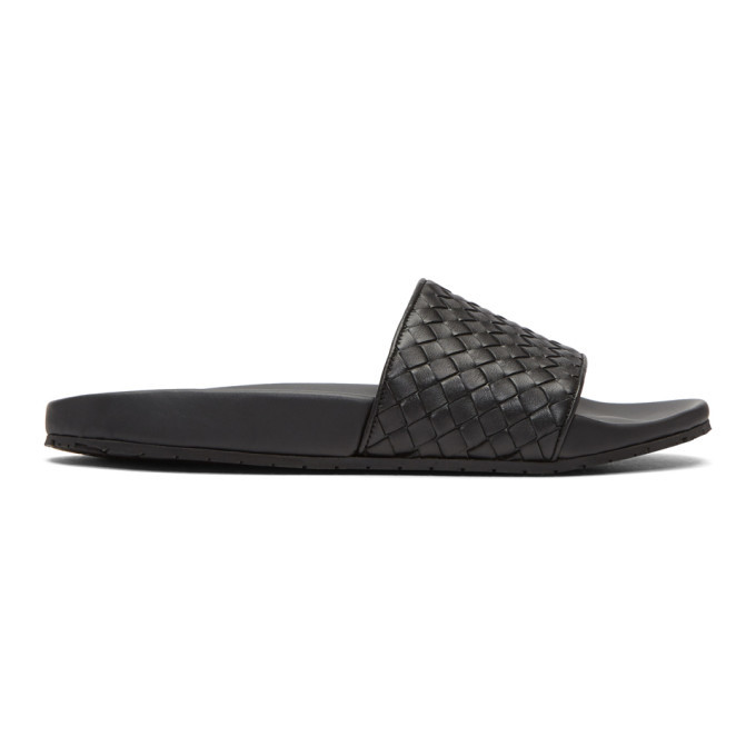 Photo: Bottega Veneta Black Intrecciato Slides