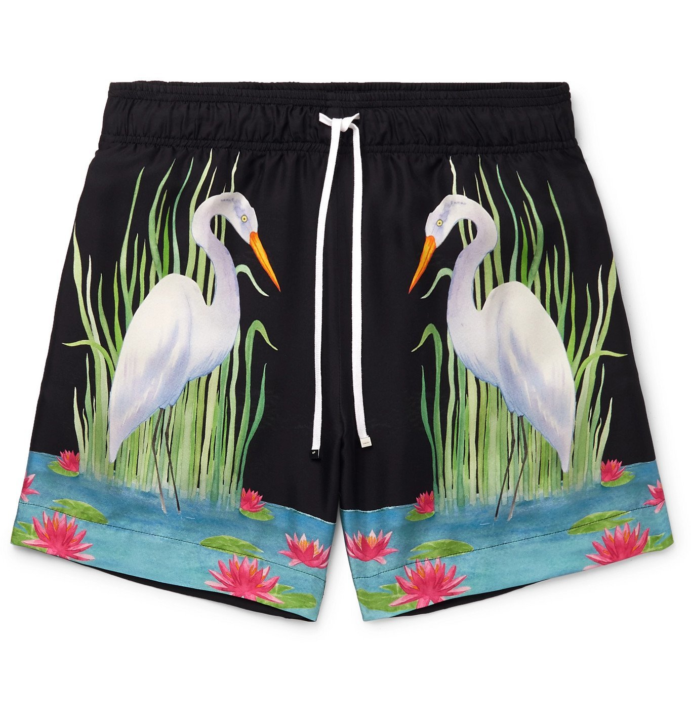 Photo: AMIRI - Printed Silk-Twill Drawstring Shorts - Black