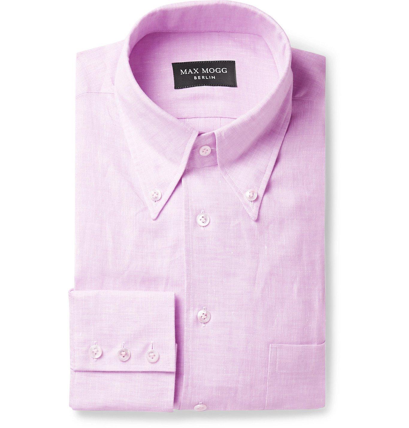 Photo: Maximilian Mogg - Button-Down Collar Linen Shirt - Pink