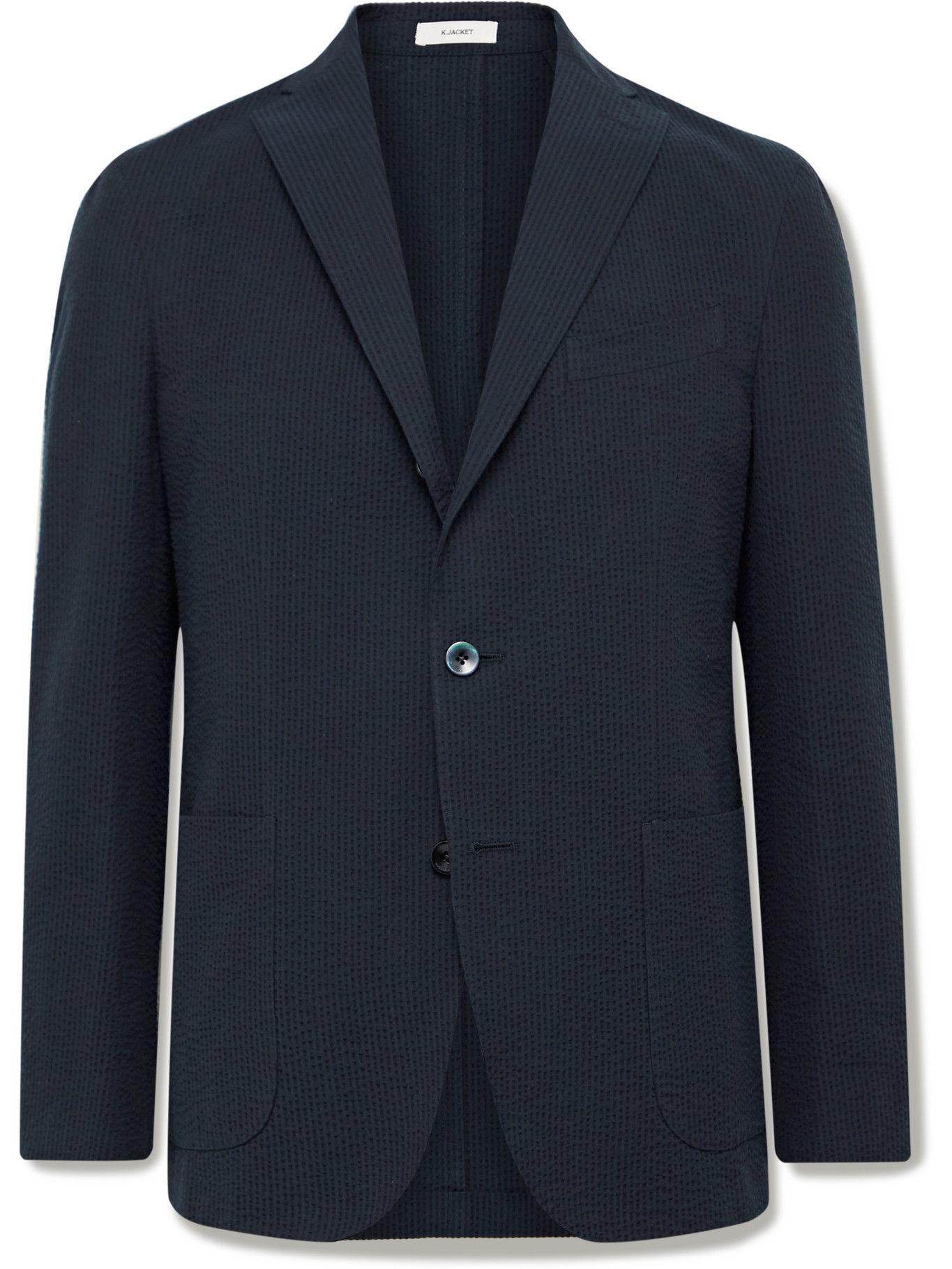 Photo: BOGLIOLI - Slim-Fit Unstructured Striped Cotton-Seersucker Suit Jacket - Blue