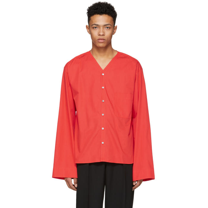 Lemaire Red V-Neck Shirt