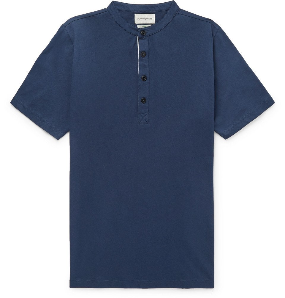Photo: Oliver Spencer - Organic Cotton-Jersey Henley T-Shirt - Navy