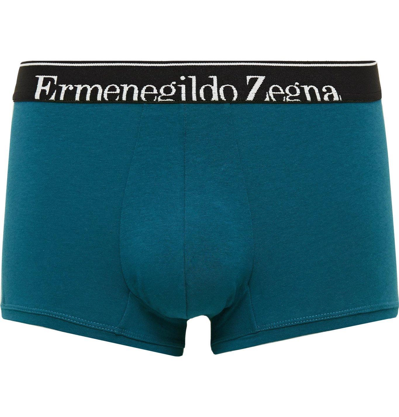 Photo: Ermenegildo Zegna - Mélange Stretch-Cotton Boxer Briefs - Blue