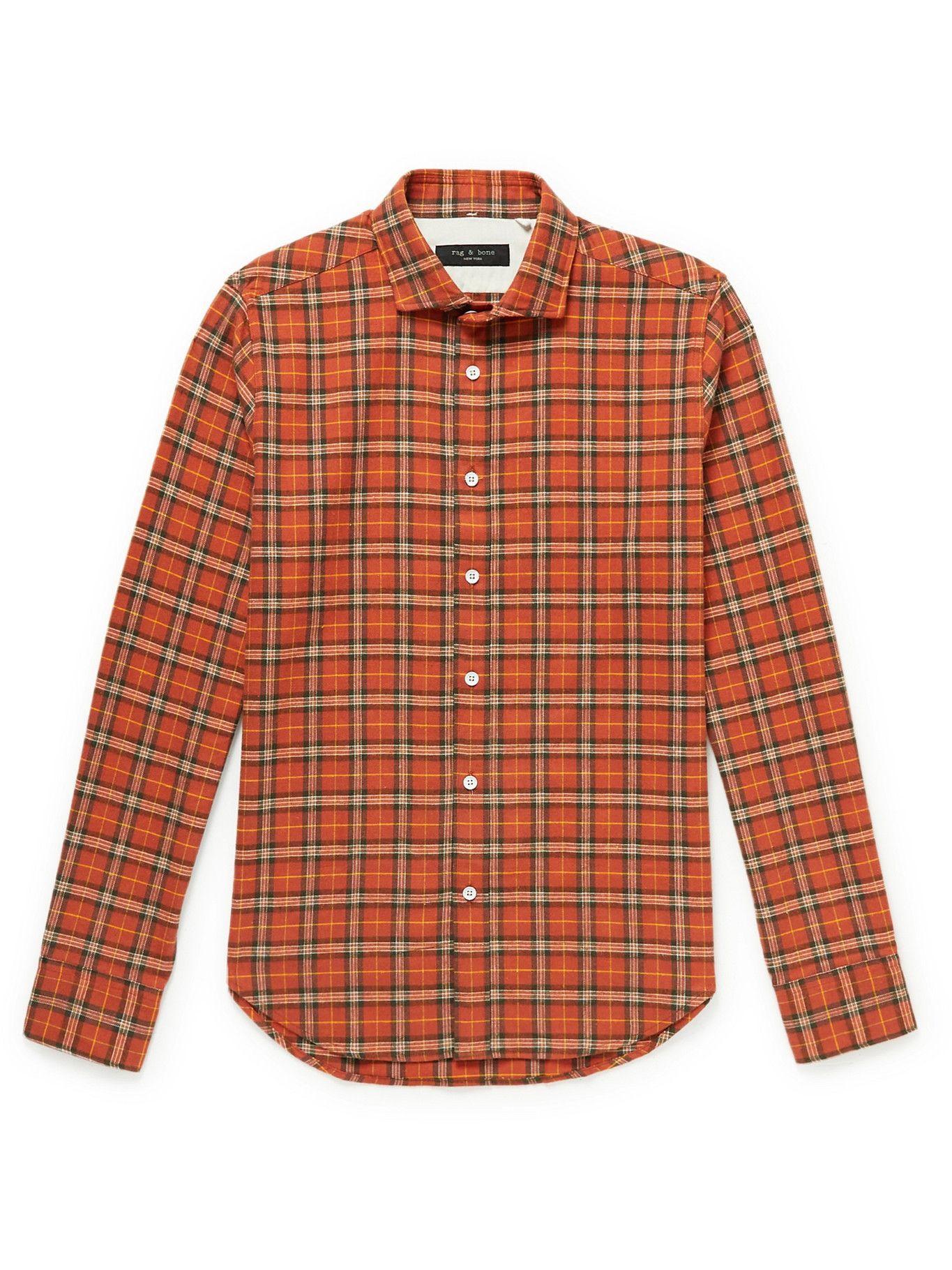 Photo: Rag & Bone - Checked Cotton-Flannel Shirt - Orange