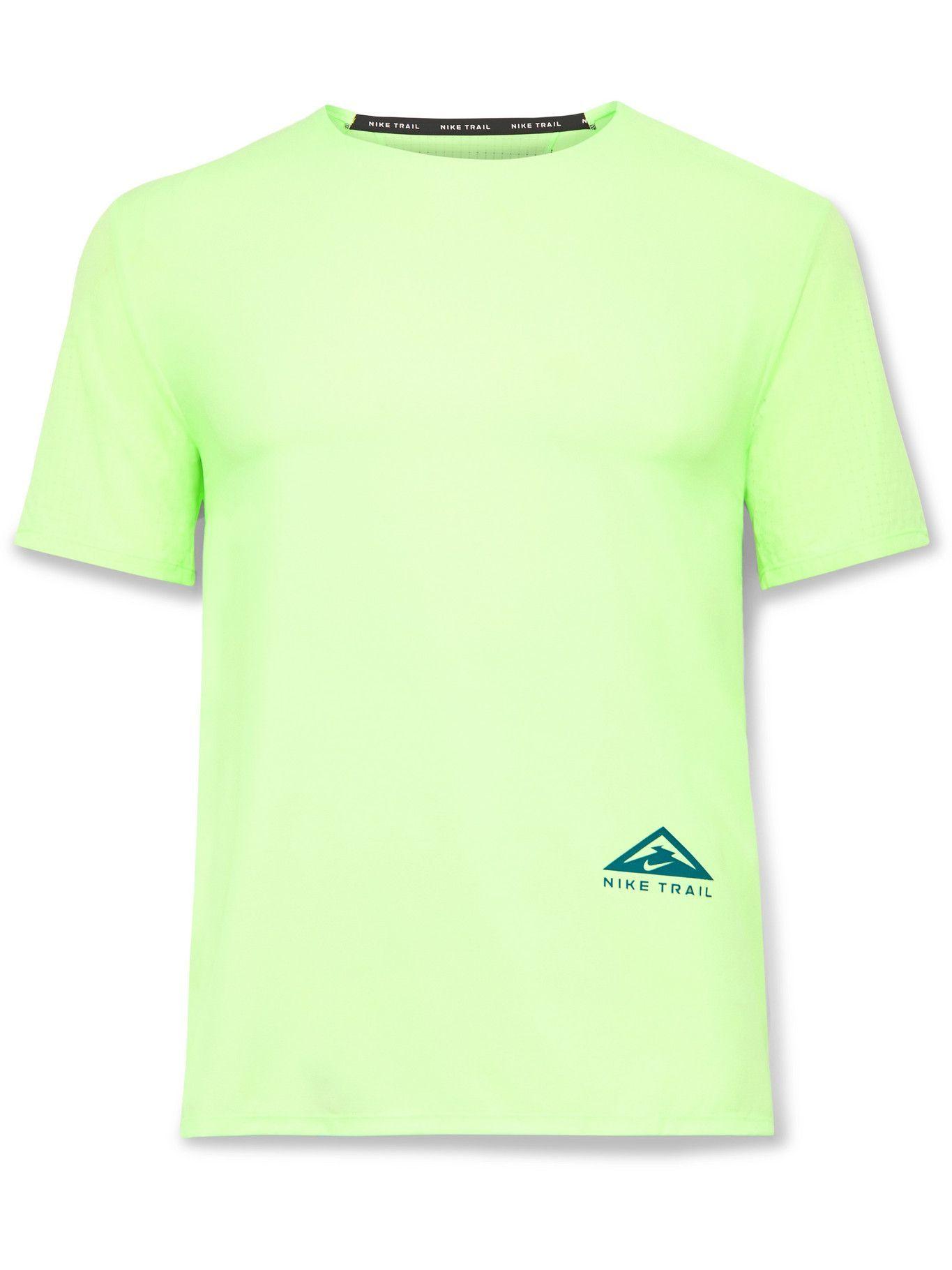 Photo: Nike Running - Rise 365 Logo-Print Dri-FIT Ripstop T-Shirt - Yellow