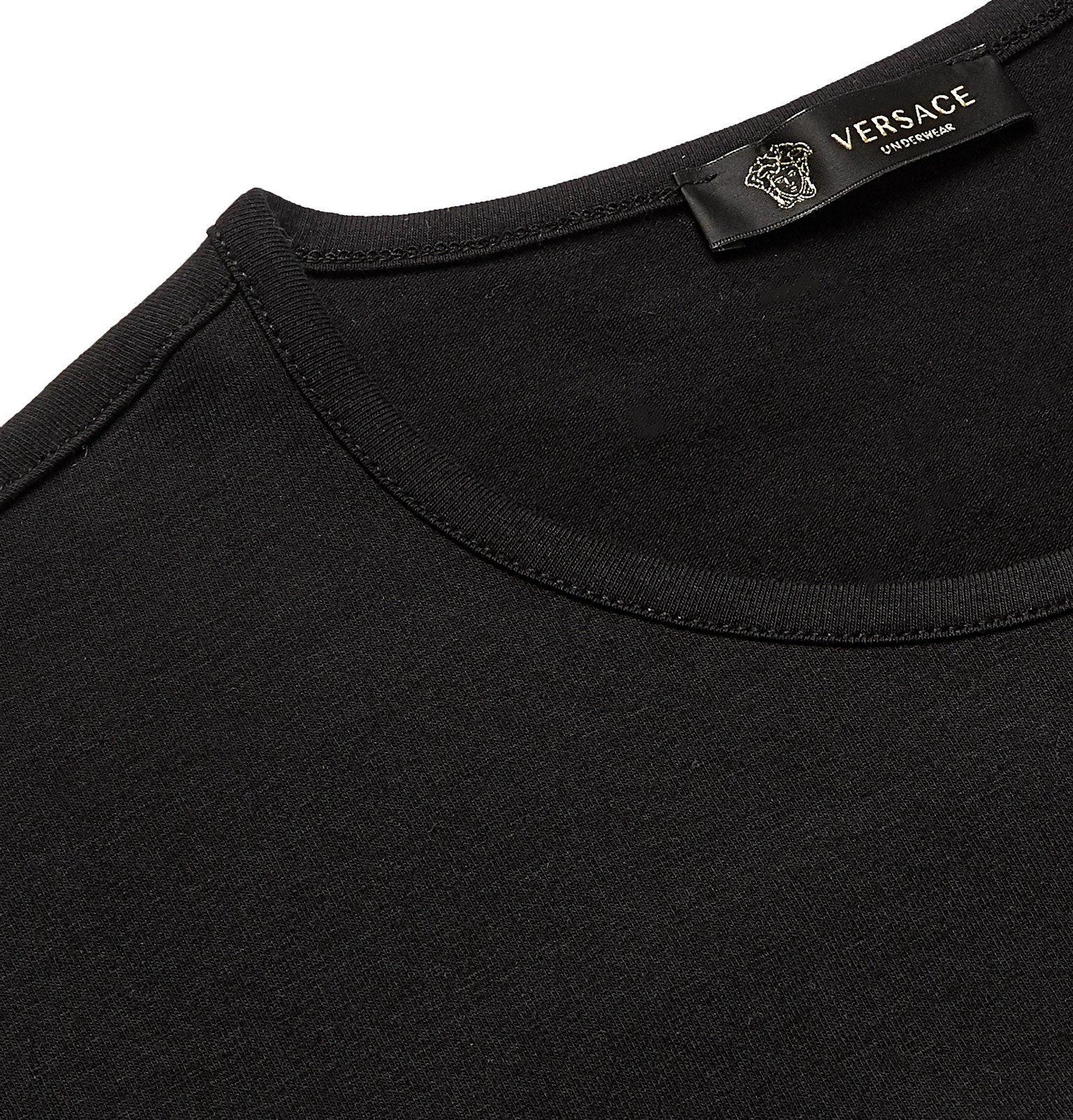 Versace - Two-Pack Slim-Fit Logo-Print Stretch-Cotton Jersey T-Shirts - Black