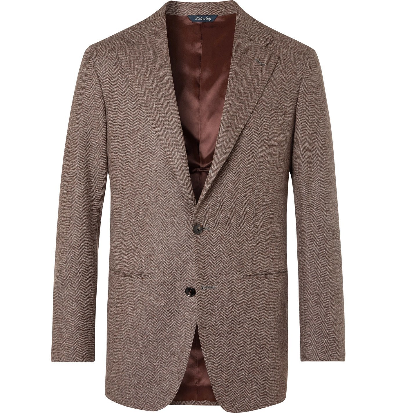 Photo: Saman Amel - Slim-Fit Herringbone Wool Blazer - Brown