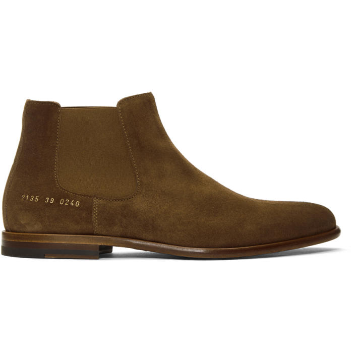 Photo: Robert Geller Taupe Common Projects Edition Suede Chelsea Boots