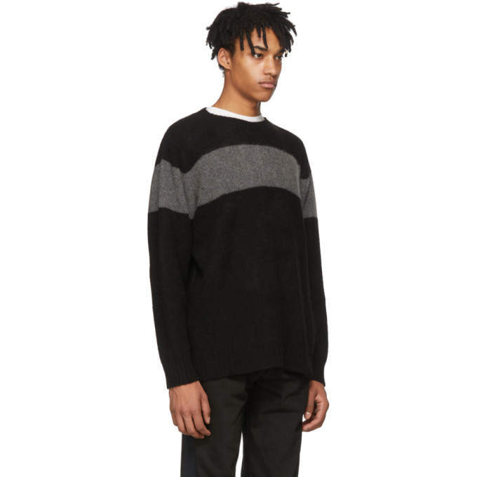 The Elder Statesman Black and Grey Cashmere Striped Racing Sweater