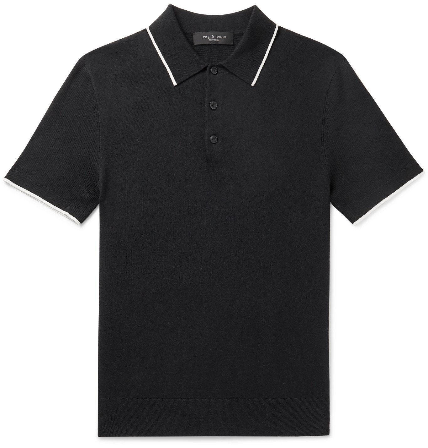 Photo: rag & bone - Jalen Contrast-Tipped Cotton, Silk and Cashmere-Blend Polo Shirt - Black