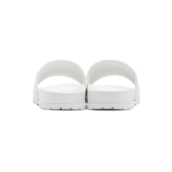 Versace Jeans Couture White Logo Slides