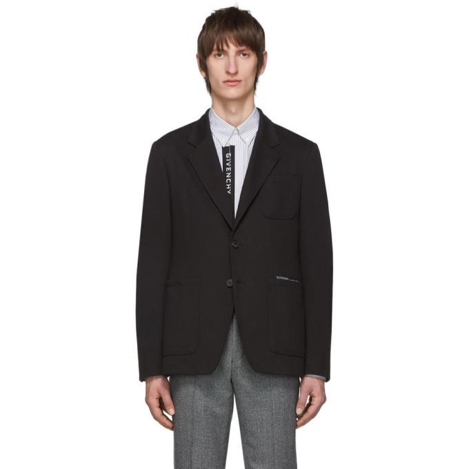 Photo: Givenchy Black Jersey Notched Lapel Blazer