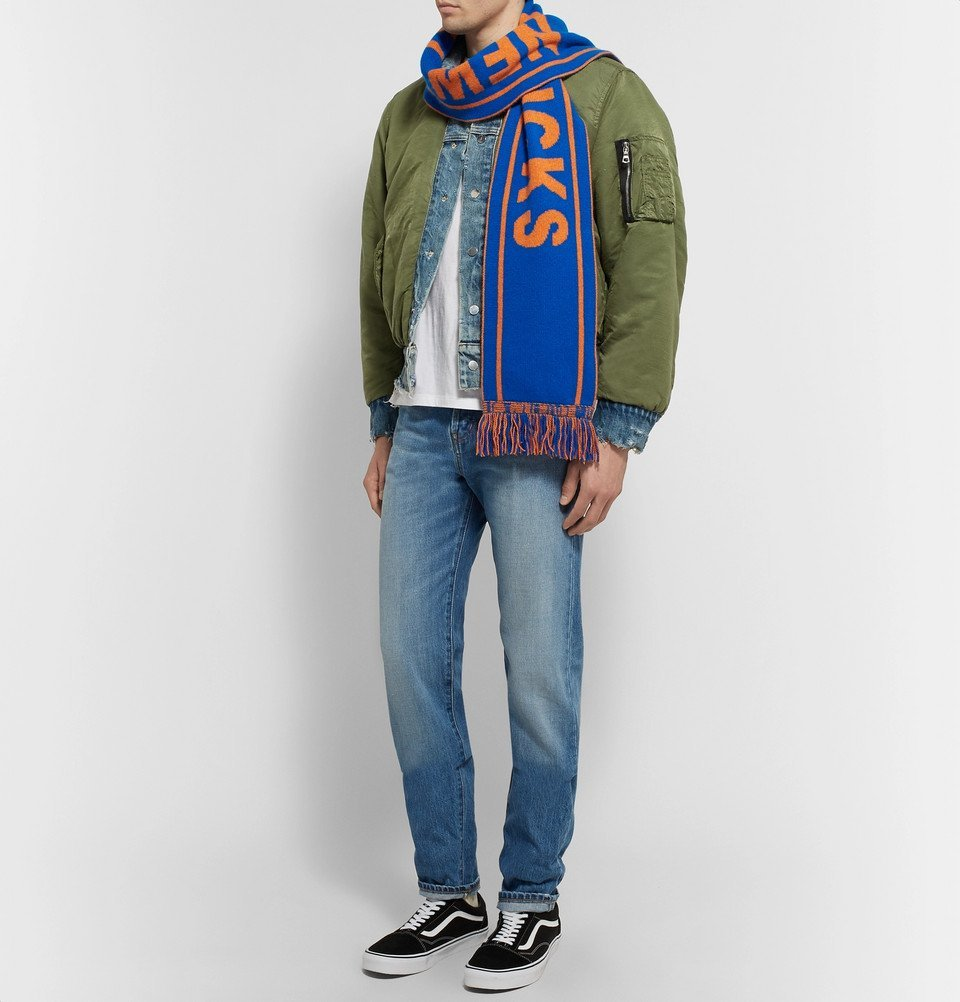 The Elder Statesman - NBA New York Knicks Fringed Intarsia Cashmere Scarf - Blue