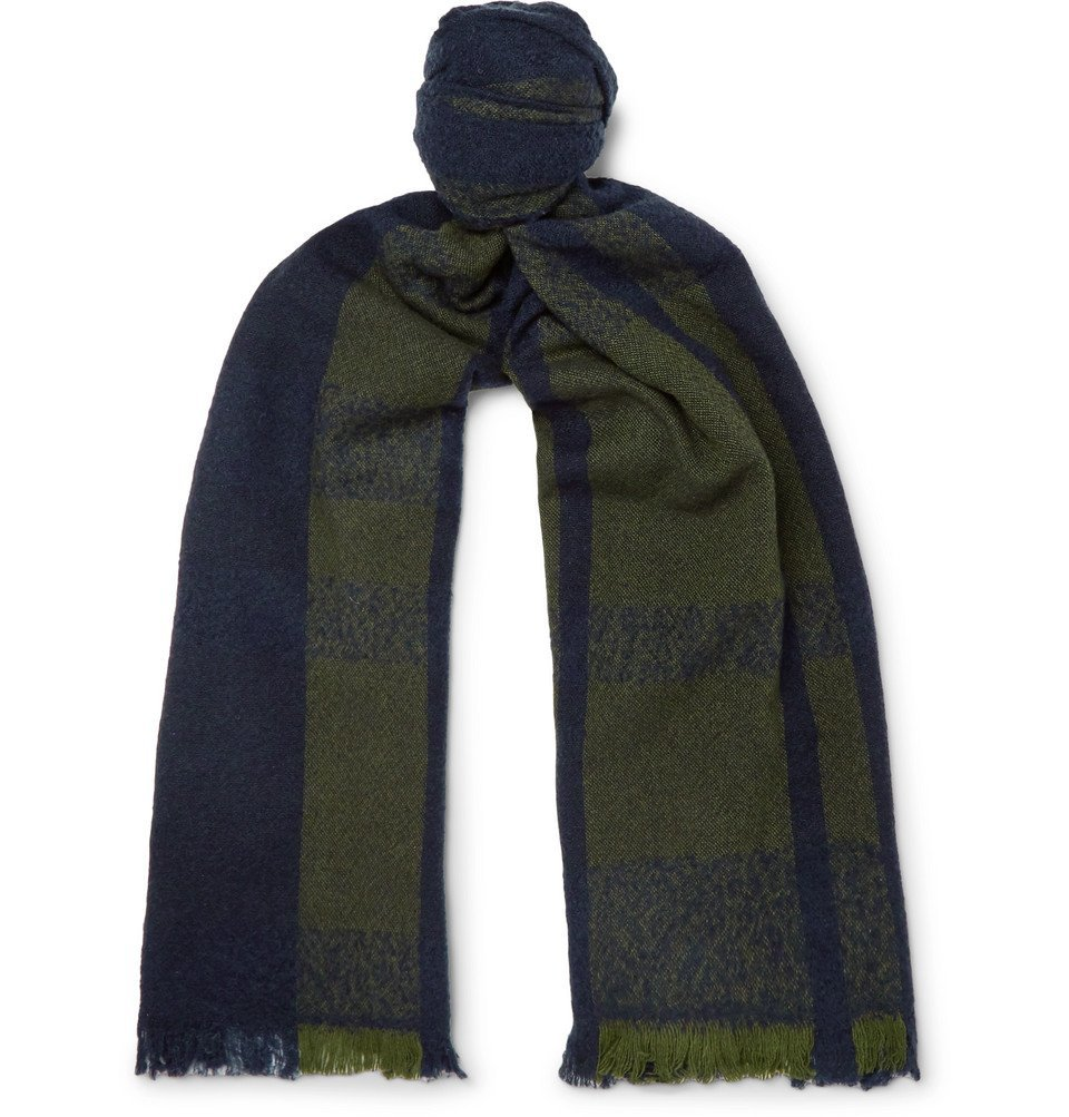 Photo: Incotex - Fringe Striped Virgin Wool-Blend Scarf - Navy