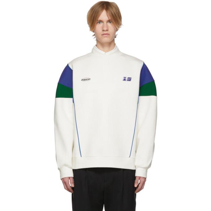 Photo: ADER error SSENSE Exclusive White and Blue ASCC Colorblock Sleeve Sweatshirt