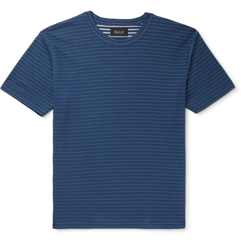 Photo: Howlin' - Terry-Trimmed Striped Cotton-Jersey T-Shirt - Midnight blue