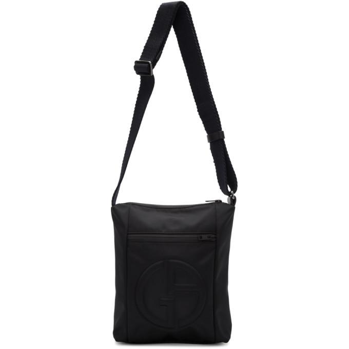 Photo: Giorgio Armani Black Embossed Logo Messenger Bag
