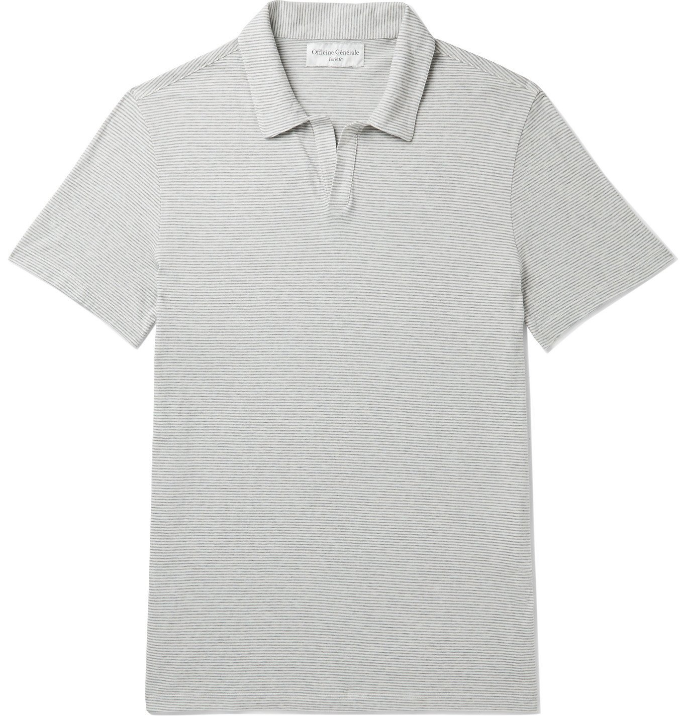 Photo: Officine Generale - Simon Striped Cotton-Jersey Polo Shirt - Gray