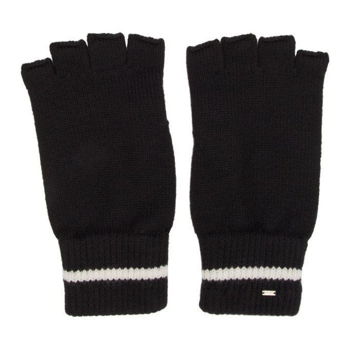 Photo: Saint Laurent Black Wool Stripe Fingerless Gloves