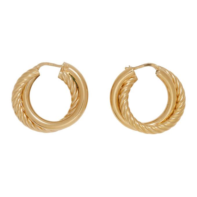 Photo: Bottega Veneta Gold Double Hoop Earrings