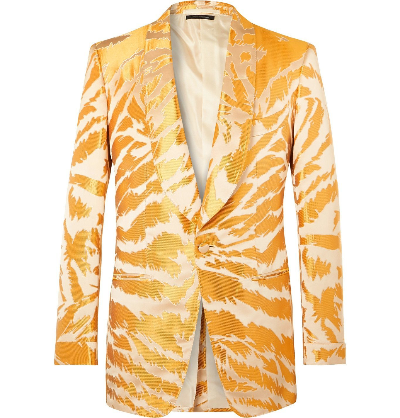 Photo: TOM FORD - Slim-Fit Shawl-Collar Zebra-Jacquard Satin and Faille Tuxedo Jacket - Yellow