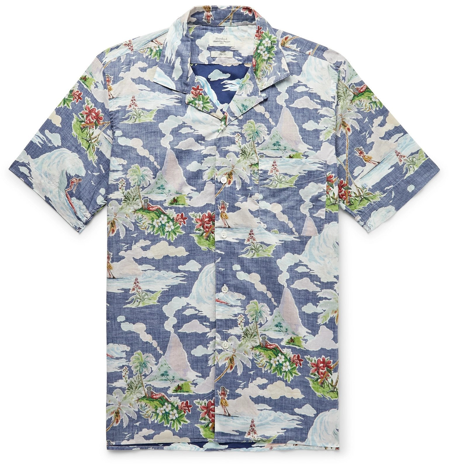 Photo: Hartford - Slim-Fit Camp-Collar Printed Cotton-Chambray Shirt - Blue