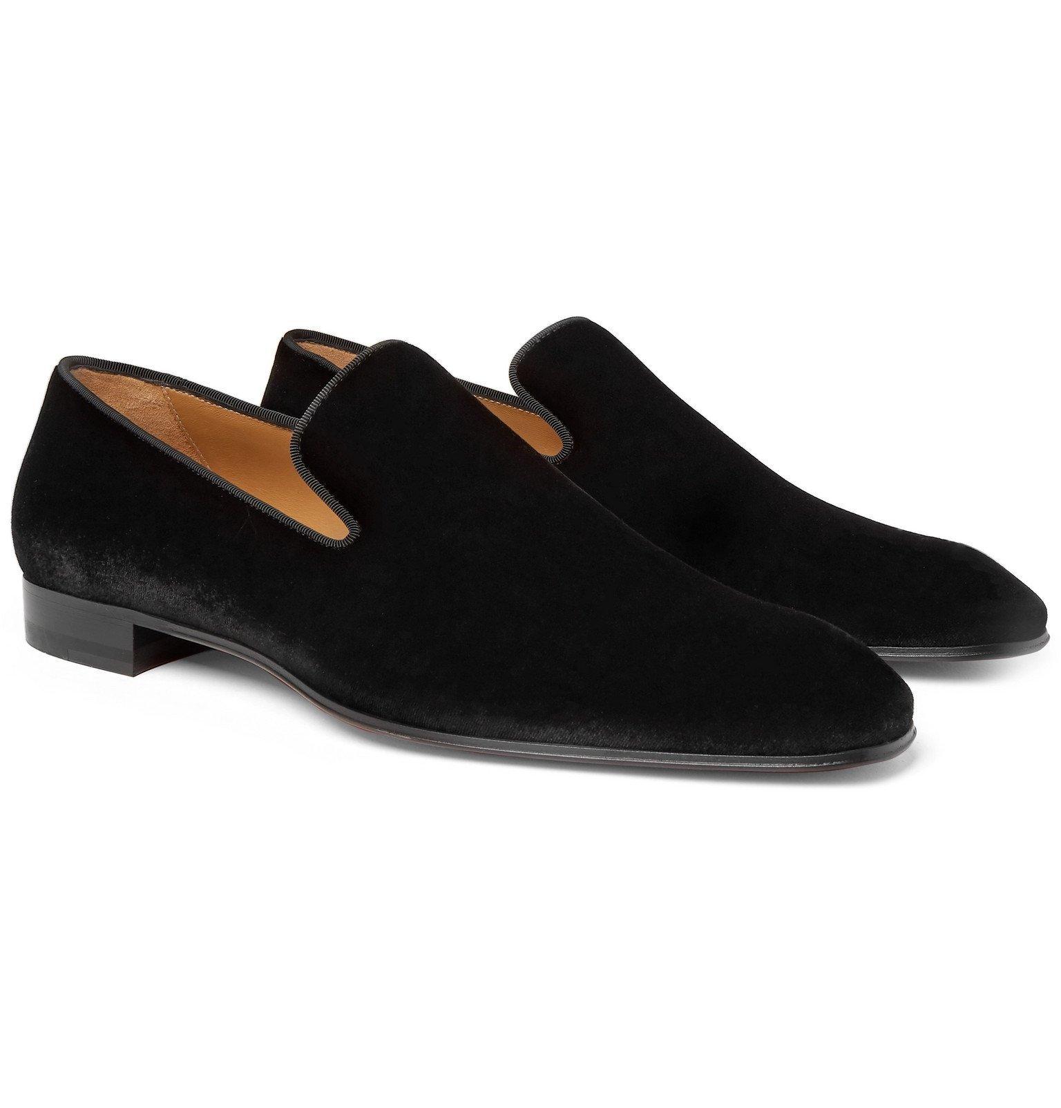 Photo: Christian Louboutin - Grosgrain-Trimmed Velvet Loafers - Black