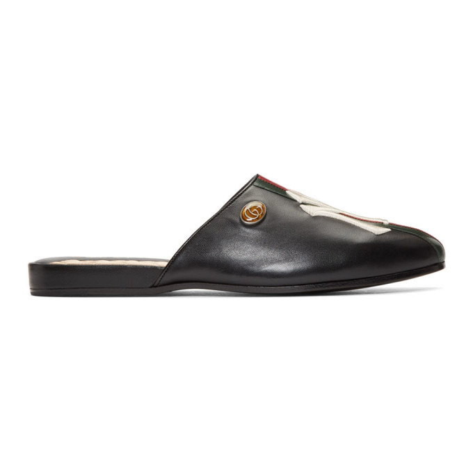 Photo: Gucci Black NY Yankees Edition Web Flamel Loafers