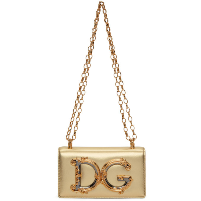 Photo: Dolce and Gabbana Gold DG Girls Phone Bag