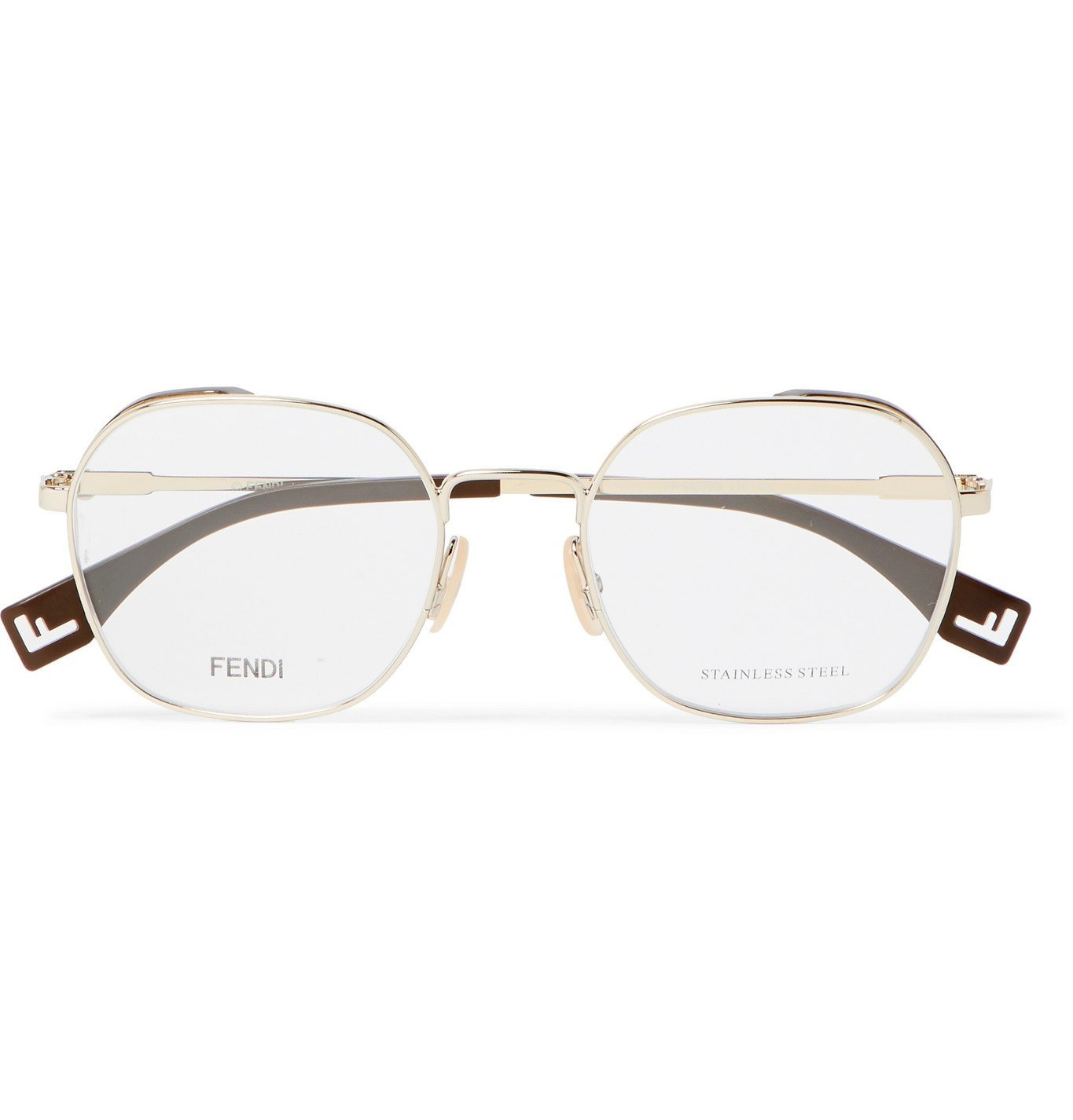 Photo: Fendi - Round-Frame Gold-Tone and Acetate Optical Glasses - Gold
