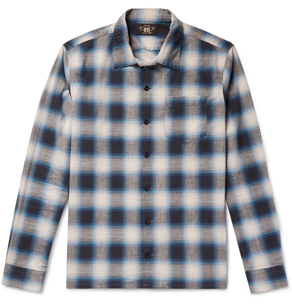RRL - Camp-Collar Checked Cotton-Poplin Shirt - Men - Blue
