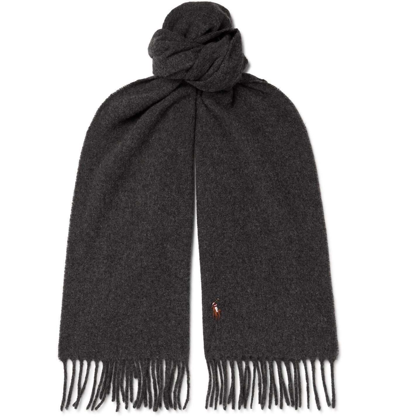 Photo: POLO RALPH LAUREN - Logo-Embroidered Fringed Wool Scarf - Gray