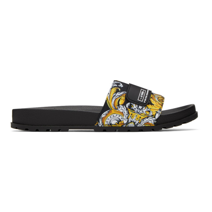 Photo: Versace Jeans Couture Black and Gold Baroque Print Slides