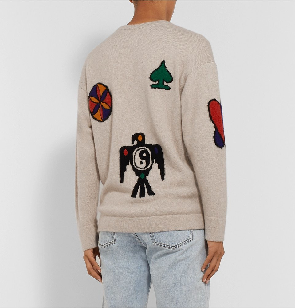 The Elder Statesman - Intarsia Cashmere Sweater - Beige