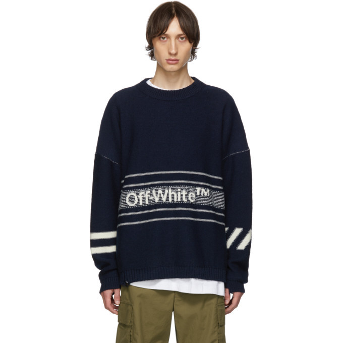 Photo: Off-White SSENSE Exclusive Navy Knit Sweater